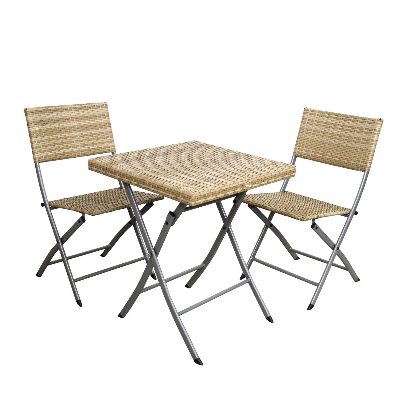Scaramuzza Tavoli Da Giardino.Set Tavolo 60x60 E 2 Sedie Rattan E Ferro Easy Scaramuzza
